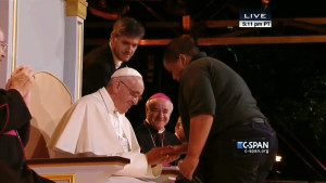 Bobby Hill of Keystone State Boychoir with Pope Francis at Festival of Families (CSpan)