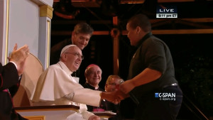 Bobby Hill of Keystone State Boychoir with Pope Francis at Festival of Families